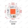 LED رشدگیاه 220 ولت مربع 50 وات