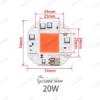 LED رشدگیاه 220 ولت مربع 20 وات